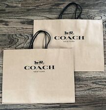 "COACH Paper Shopping Bag Brown Medium Gift Bag 16 x 12 x 6"" TWO BAGS! AUTHENTIC"