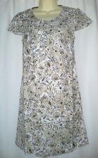 New x Boden Beige Dress 8 10 12 14 16 18 Linen Tunic Floral Smock Flower Bow Top