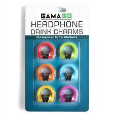 Gama-Go Headphone Wine Glass Charms / Drink Markers - 6pk