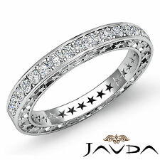 Round Pave Diamond Star Eternity Wedding Ring 14k White Gold Womens Band 0.45Ct