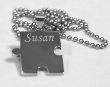THICK PUZZLE PIECE  FAMILY X 6 TAGS,  SOLID STAINLESS STEEL BALL CHAIN NECKLACE