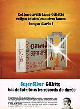 PUBLICITE  1968   GILETTE    super silver  lames de rasoir