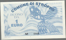 Euro (prototipo) BANCONOTE FAC-SIMILE DA 1 EURO COMUNE DI STROPPO 1997 Locale