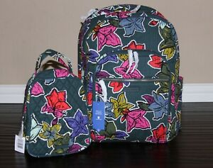💚 Vera Bradley Large Deluxe Campus Backpack & Lunch Bunch Bag Falling Flowers