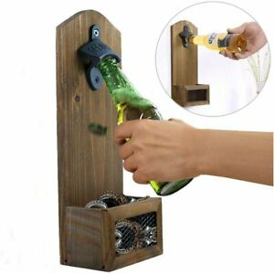 Wall-Mounted Beer Bottle Opener Retro Color Beer Corkscrew Wooden Corkscrew