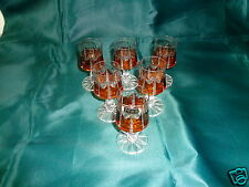 6 VINTAGE HAND MADE IN POLAND CLEAR & AMBER CUT CRYSTAL GLASS CORDIAL RENA GLASS