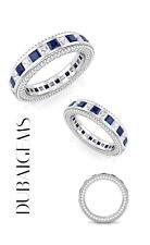 White gold finish Sapphire And created diamond Full Eternity ring size O in box