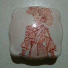 Vintage Limoges trinket box with pink victorian woman signed C.M. c1890-1920