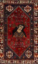 Vintage Pictorial Geometric Abadeh Nomad Area Rug Hand-Knotted Tribal Carpet 3x5