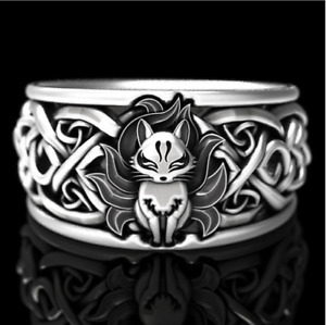 NEW AU UNISEX Stainless Steel Celtic Knot FOX Pattern Vintage Style Ring gift
