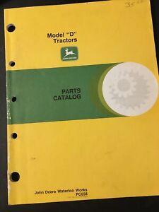 """John Deere OEM Orig Parts Catalog For Model """"D"""" Tractors PC658"""
