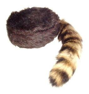 Davey Crockett Coonskin Cap Real Fur Tail Raccoon Brown Coon Daniel Boone Hat