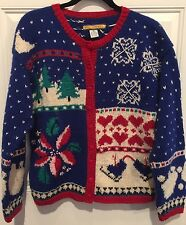 Bryn Connelly Ugly Christmas Sweater Cardigan Womens MED Wool Blend VTG