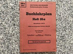 Deutsche Reichsbahn Buchfahrplan Heft 35a von 1958/59