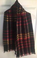 Vintage Merino Wool Plaid Scarf Red Black Yellow Miller & Rhoads Germany
