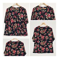 Anthology Blouse Size 20 Faux Wrap Navy Rose Floral Print Smart Casual Work