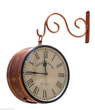 Station Clock(Double Side Clock),Copper leaf design,8 Inch,Home Decor,Wall clock