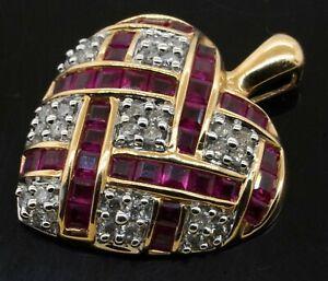 14K 2-tone gold elegant lovely 3.15CT diamond & ruby heart pendant