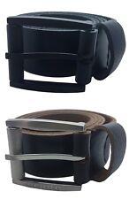 """Mens Black Brown 1.5"""" Real Full Grain Genuine Leather Belts Metal Buckles 26-60"""""""