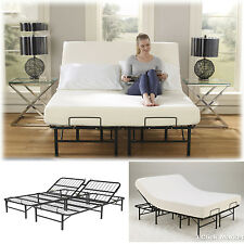 King Size Adjustable Bed Frame Easy Head Lift Control Metal Platform Foundation
