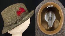 "WORMSER Vintage Fedora Hat Brown Tweed Mens Royal Luxury English 7 1/8"" feather"