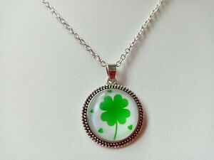 Irish Four Leaf Clover Necklace Pendant for St Patricks Day Paddys Day Jewellery