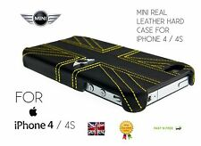 Mini Back Hard Case Cover Protective Case Real Leather Union Jack iPhone 4 4S