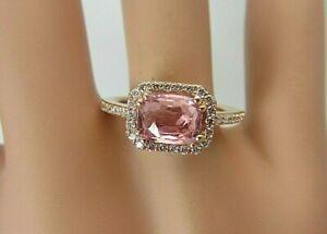 14k Rose Gold 1.20 carat Pink Sapphire and Diamond Ring 1.50 CT TW