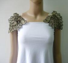 VT484 Peacock Leaves Front/Shoulder Beige Trims Lace Applique Sew on Dress 2pcs