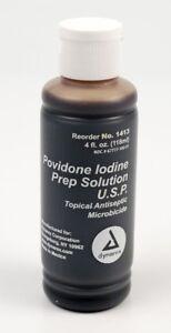Povidone-Iodine Prep Solution 10% Betadine 4oz Wound Infection Bacteria DYNAREX