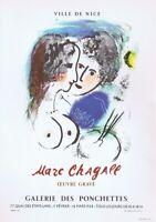 Marc Chagall Ville De Nice Mourlot Poster Offset Lithograph 10'' x 14'' 1966