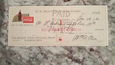1946 vintage coca cola check to The Miners' National Bank ishpeming, MI Jan 18th