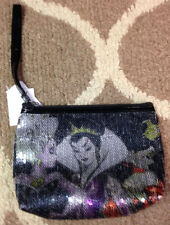 Womens Disney Store Villains Evil Queen Ursula Sequin Make Up Cosmetic Bag NEW