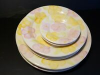 Set of 8 Franciscan Garden Party Plate Vintage Earthenware Stoneware Yellow Pink