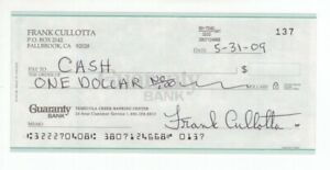 Frank Cullotta - Chicago Mobster: Inspired 'Casino' Film - Autographed 09 Check