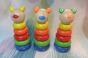 Kaper Kidz Children's Wooden Toddler Toy Small Wooden Animal Stacker Blocks!