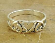 100% .925 Solid Sterling Silver Repeating Heart Ring Promise Band 6mm Sz.8