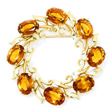 Vintage Citrine Circle Brooch Pin in 14K Yellow Gold 8.00ctw