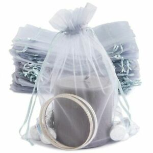 """100Pcs Silver Organza Bag 6.7""""x 9"""" for Wedding Party Favors Jewelry Gift Pouches"""