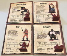 Heroquest Replacement Parts Figures Elf Barbarian Dwarf Wizard + Character Cards