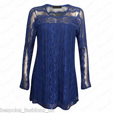 Ladies Women's Stylish Lace Lined Long Sleeve Party Tunic Dress Top Plus 14-28 Royal Blue 16