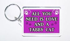 All You Need Is Love and a Tabby Cat, Ideal Present, Keyring For Cat Lovers