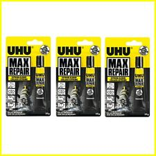 3 x UHU Max Reparatur Extrem Selbstklebend Transparent Glue Wasser Widerstand-