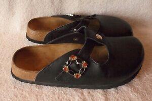 NEW HTF Womens Sz 8 Birkenstock Betula Black Leather Carmela Clogs Mules Slides