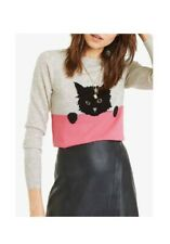 Oasis Size S 8/10 Pink Grey Shadow Cat Jumper RRP £39