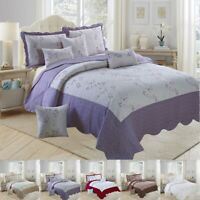 3 Pcs Embroidered Quilted Bedspread with 2 Pillow Sham Cotton Luxury Bedding Set