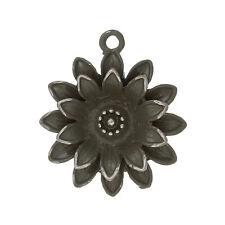 1 Pcs Charm Pendants Flower Silver Tone Enamel Gray 28mm x 25mm LC1485