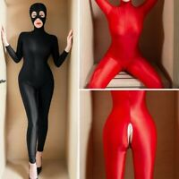 Women Lycra Zentai Party Costume Zipper Bodysuit  Shiny Catsuit Unitard Jumpsuit