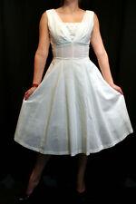 S VTG 50s 12 Gore Full Skirt Ivory Empire Fitted Flared Rockabilly Sun DRESS