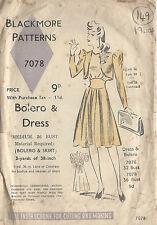 """1940s Jahre Vintage Näh Muster Brustumfang B36 """" """" Kleid & Bolerojacke (149)"""